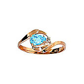 QP Jewellers Diamond & Blue Topaz Ring in 14K Rose Gold