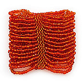 Wide Orange Glass Bead Flex Bracelet - up to 19cm wrist