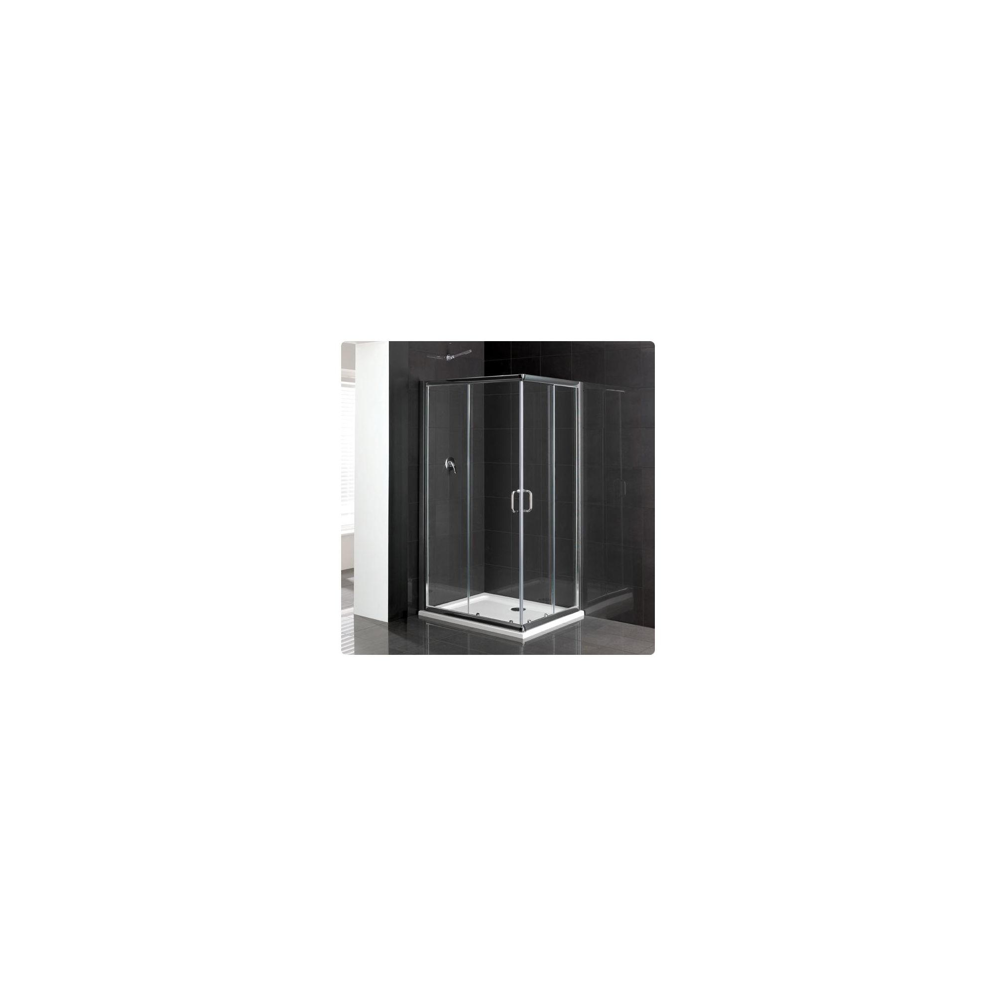 Duchy Elite Silver Offset Corner Entry Shower Enclosure 1000mm x 760mm, Standard Tray, 6mm Glass at Tesco Direct