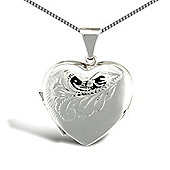 Jewelco London Sterling Silver Heart shape floral pattern Locket Pendant - 18 inch Chain