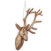 Hanging Gold Glitter Reindeer Head Christmas Decoration