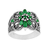 Gemondo 925 Sterling Silver 0.74ct Emerald & Marcasite Cocktail Ring