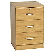 Enduro Three Drawer Wooden Pedestal / Audio Visual Unit - Beech