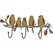 Birds - Wall Mounted Metal Triple Coat / Key / Towel Hooks - Brown / Green / Red