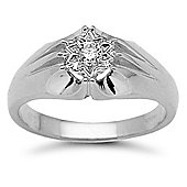 Jewelco London 9 Carat White Gold 20pts Gents Single Stone Diamond Ring
