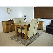 Solid Oakland Oak Extending Dining Table and x4 Cream Chairs