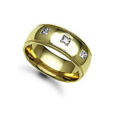Jewelco London 9ct Yellow Gold 8mm Court Mill-Grain Diamond set 30pts Trilogy Wedding / Commitment Ring