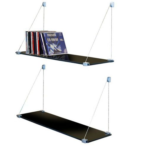 Techstyle Pair of Glass Suspension Storage / Display Shelves - Black