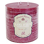 Botanicals Rustic Pillar Candle Multiwick Log Fire