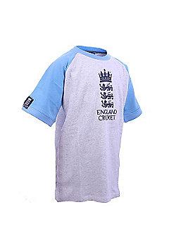 ECB Official England Cricket Raglan Logo Kids T-Shirt - Multi