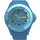 Tresor Paris Watch 018807 - Stainless Steel Bezel - Silicone Strap - Diamond Set Dial - 36mm - Aqua Blue