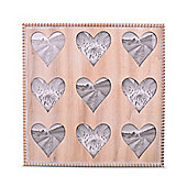 Large Square Wooden Photo Frame With Nine Heart Cut Outs For Photos 3.5 x 3.5in Or 8 x 8cm
