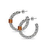 Jewelco London Sterling Silver Crushed Ice Hoop Earrings - Fire Ice