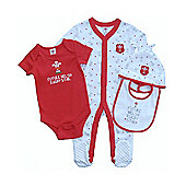 Wales WRU Rugby Baby 4 Piece Gift Set - 2015/15 - Red & White