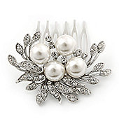 Bridal/ Wedding/ Prom/ Party Rhodium Plated Clear Crystal, Simulated Pearl Cluster Hair Comb - 60mm