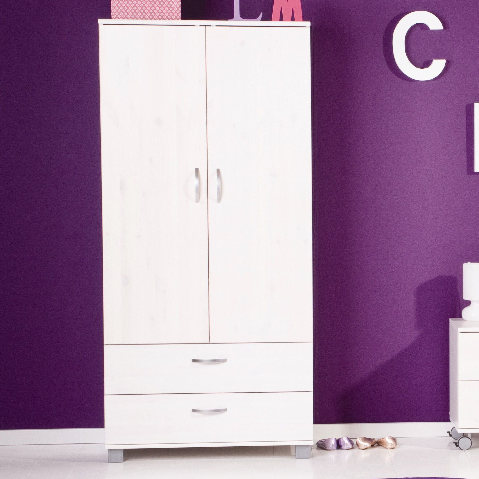 Thuka Trendy Two Door Two Drawer Wardrobe - White - White at Tesco Direct