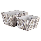Natural Core Stripe Storage Baskets, Set of 2