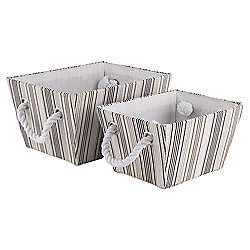 Core Stripe Storage Baskets, Natural, Set of 2