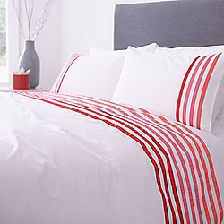 Lourdes Stripe Pink Double Duvet Set
