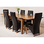 Farmhouse Rustic Solid Oak 200 cm Butterfly Extending Dining Table with 6 Lola Leather Chairs (Brown)