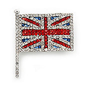 Swarovski Crystal Union Jack Flag Brooch In Silver Plating - 3.5cm Length