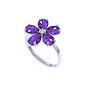 QP Jewellers Diamond & Amethyst Foliole Ring in 14K White Gold
