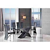 Valencia Glass & Black Oak 200 cm Dining Table & 6 Alisa Black Chairs
