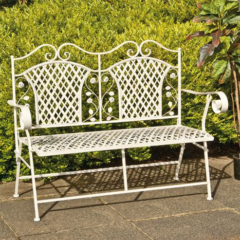 Lorraine Antique French Style Folding Cast Iron Bench