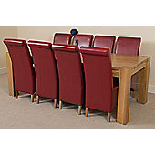 Kuba Chunky Solid Oak 220 cm with 8 Burgundy Montana Chairs