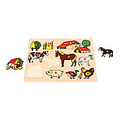 Bigjigs Toys BJ094 Farm Lift Out Puzzle