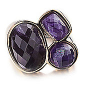 Shimla Ladies Purple Agate 3-Stone Ring - SH-208SM