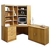 Enduro Home Office Corner Desk / Workstation with Pedestal, Cupboard and Bookshelves - English Oak