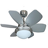 Spitfire 30 inch Ceiling Fan with Light in Brushed Chrome