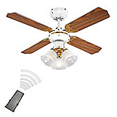 Hawker Remote Control 36 inch Ceiling Fan with Light in White