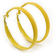 Large Bright Yellow Enamel Hoop Earrings - 6cm Diameter