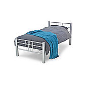 """Silver Grille Style Double Metal Bed Frame - 4ft 6"""""""