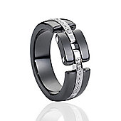 Jewelco London Sterling Silver CZ Black Ceramic Watch Strap Style Fashion Ring Size