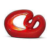 Wave Ceramic Sculpture Table Lamp in Gloss Red