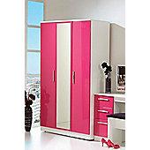 Welcome Furniture Knightsbridge Tall Wardrobe with Mirror - Pink - Cream