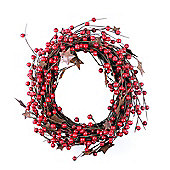 Artificial Red Berry Wreath with Rustic Metal Star Detail