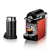 """Krups Nespresso Pixie Coffee Maker with Aeroccino, Red"""
