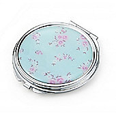 Blue Floral Compact Mirror