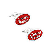 Red Enamel Grooms Father Wedding Cufflinks