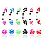 Urban Male Pack Of Six Surgical Stainless Steel Curved Body Piercing Barbells Tornado Spikes