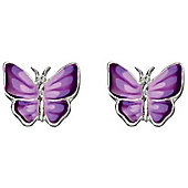 Girl's Purple Butterfly Silver Stud Earrings