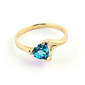 QP Jewellers 0.95ct Blue Topaz Devotion Heart Ring in 14K Gold