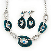 Teal Green Enamel Oval Geometric Chain Necklace & Drop Earrings Set In Rhodium Plating - 38cm Length/ 6cm Extension