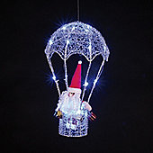 Battery Operated Silver Hot Air Balloon 38cm with Santa & 20 Blue LEDs