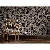 Graham & Brown Ophelia Flock Wallpaper - Grape