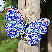 Multi Coloured Blue Mosaic Wall Mountable Butterfly Garden Wall Art Ornament